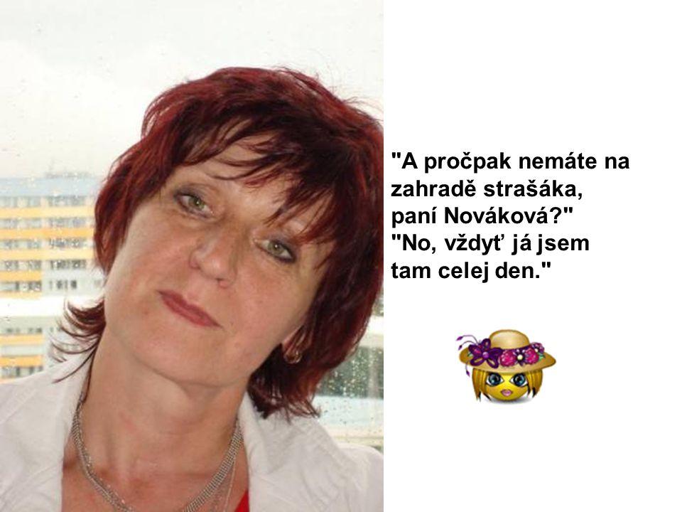 A pročpak nemáte na zahradě strašáka, paní Nováková? No, vždyť já jsem tam celej den.