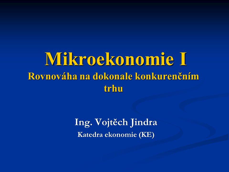 Mikroekonomie I Rovnováha na dokonale konkurenčním trhu Mikroekonomie I Rovnováha na dokonale konkurenčním trhu Ing. Vojtěch JindraIng. Vojtěch Jindra