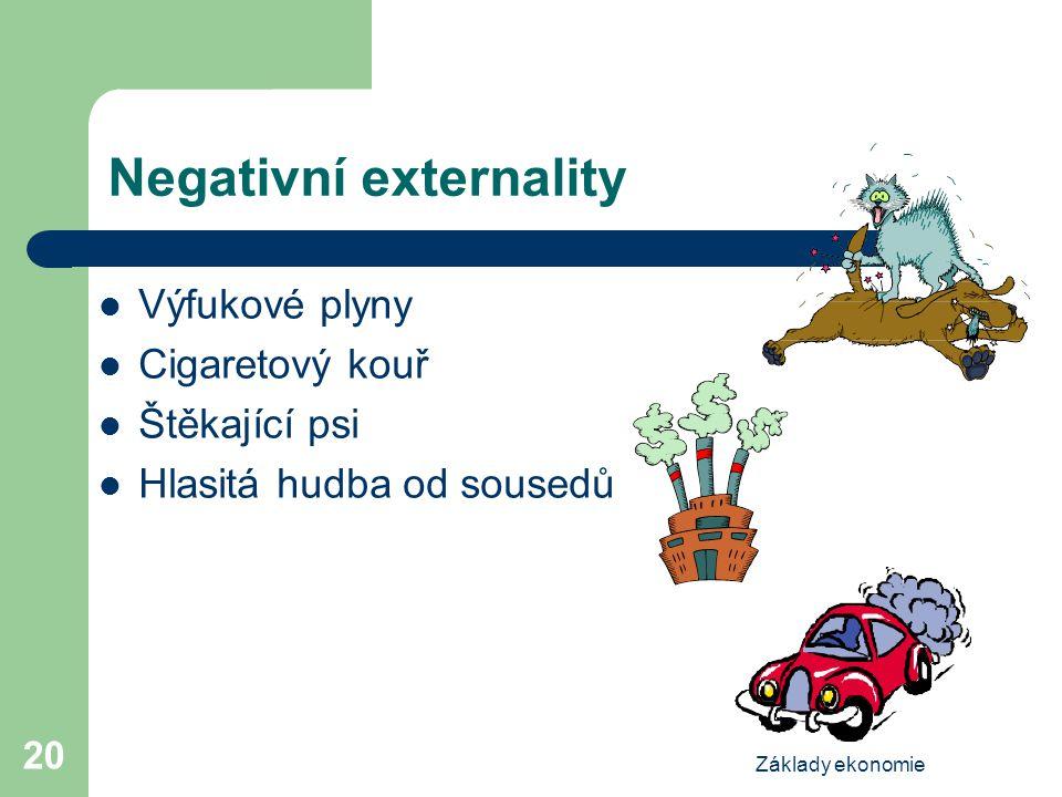 Základy ekonomie 20 Negativní externality Výfukové plyny Cigaretový kouř Štěkající psi Hlasitá hudba od sousedů
