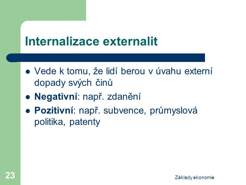Základy ekonomie 23 Internalizace externalit Vede k tomu, že lidí berou v úvahu externí dopady svých činů Negativní: např. zdanění Pozitivní: např. su