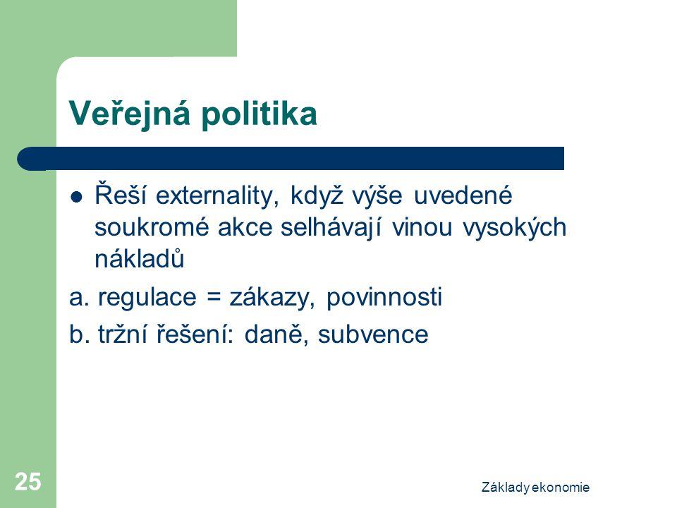 Základy ekonomie 25 Veřejná politika Řeší externality, když výše uvedené soukromé akce selhávají vinou vysokých nákladů a. regulace = zákazy, povinnos