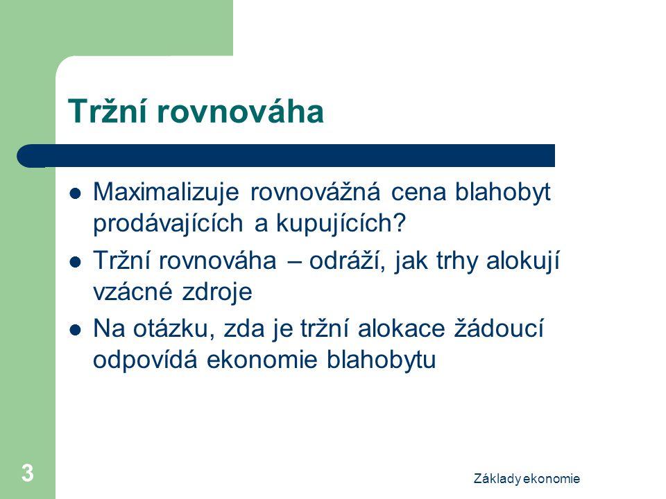 Základy ekonomie 14 Daňový příjem cena množství S E D množství bez daně cena, kterou platí kupující množství s daní cena bez daně cena, kterou dostane prodávající daň (T) daňový příjem Q