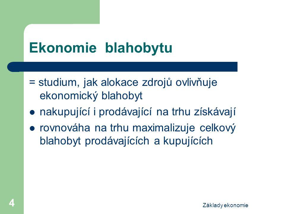 Základy ekonomie 4 Ekonomie blahobytu = studium, jak alokace zdrojů ovlivňuje ekonomický blahobyt nakupující i prodávající na trhu získávají rovnováha