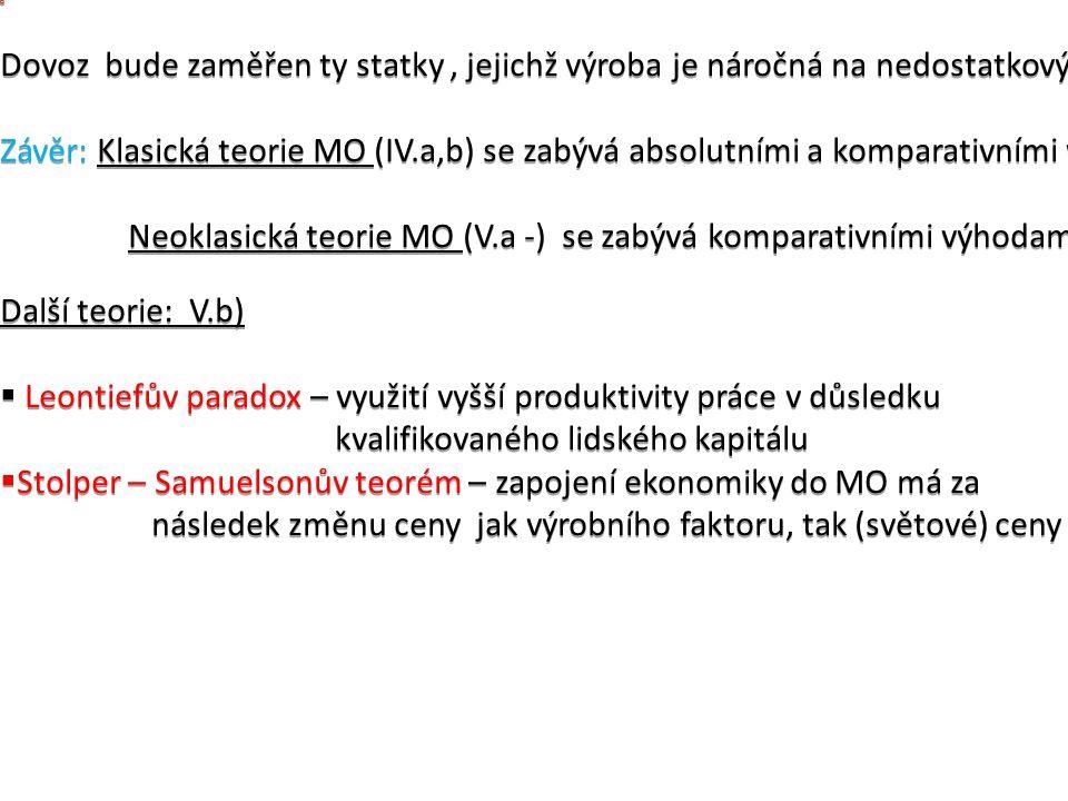 Dovoz bude zaměřen ty statky, jejichž výroba je náročná na nedostatkový faktor (K,L). Závěr: Klasická teorie MO (IV.a,b) se zabývá absolutními a kompa