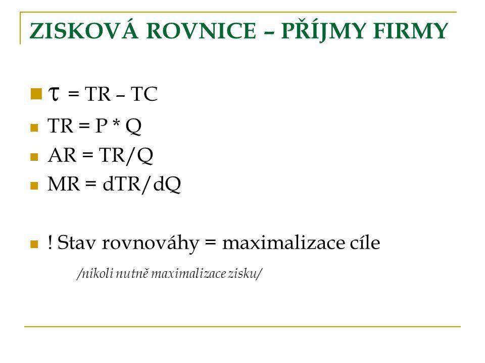 ZISKOVÁ ROVNICE – PŘÍJMY FIRMY  = TR – TC TR = P * Q AR = TR/Q MR = dTR/dQ ! Stav rovnováhy = maximalizace cíle /nikoli nutně maximalizace zisku/