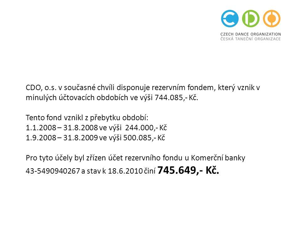 CDO, o.s. v současné chvíli disponuje rezervním fondem, který vznik v minulých účtovacích obdobích ve výši 744.085,- Kč. Tento fond vznikl z přebytku
