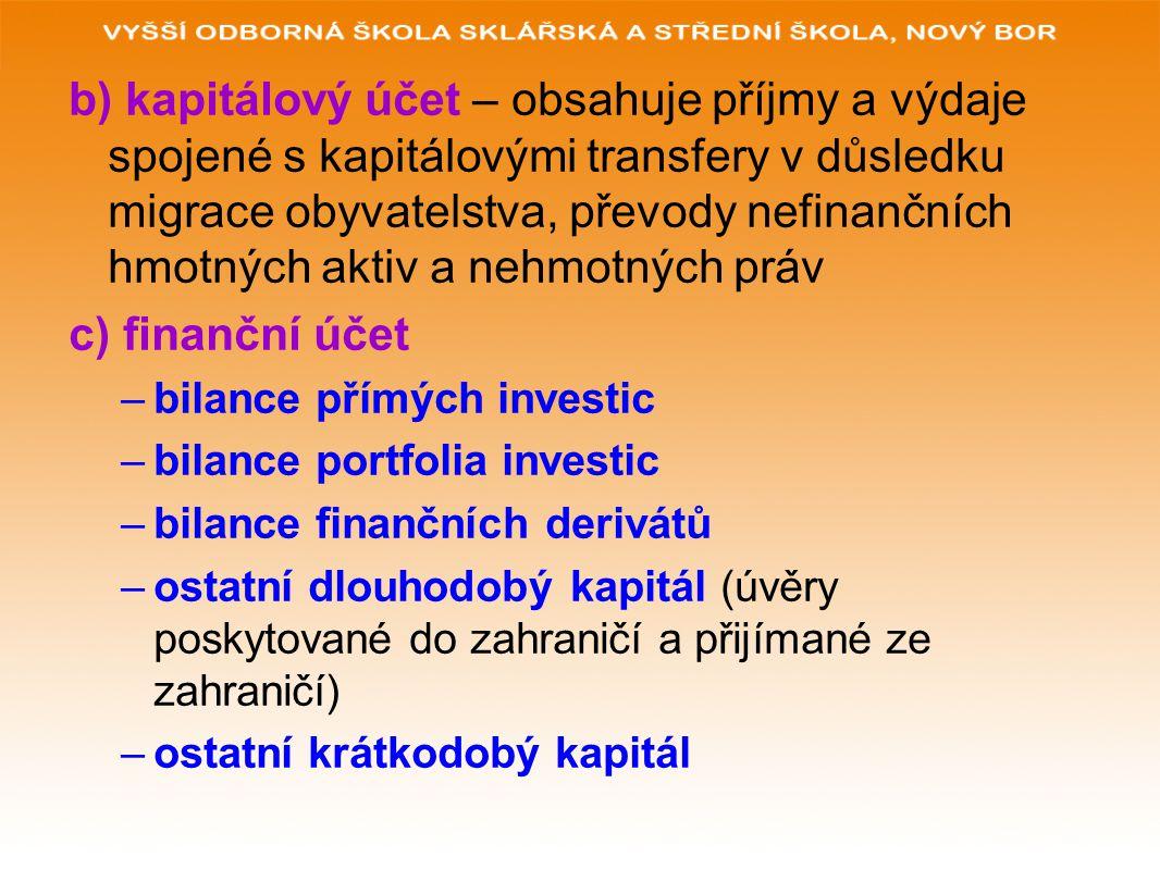 b) kapitálový účet – obsahuje příjmy a výdaje spojené s kapitálovými transfery v důsledku migrace obyvatelstva, převody nefinančních hmotných aktiv a nehmotných práv c) finanční účet –bilance přímých investic –bilance portfolia investic –bilance finančních derivátů –ostatní dlouhodobý kapitál (úvěry poskytované do zahraničí a přijímané ze zahraničí) –ostatní krátkodobý kapitál