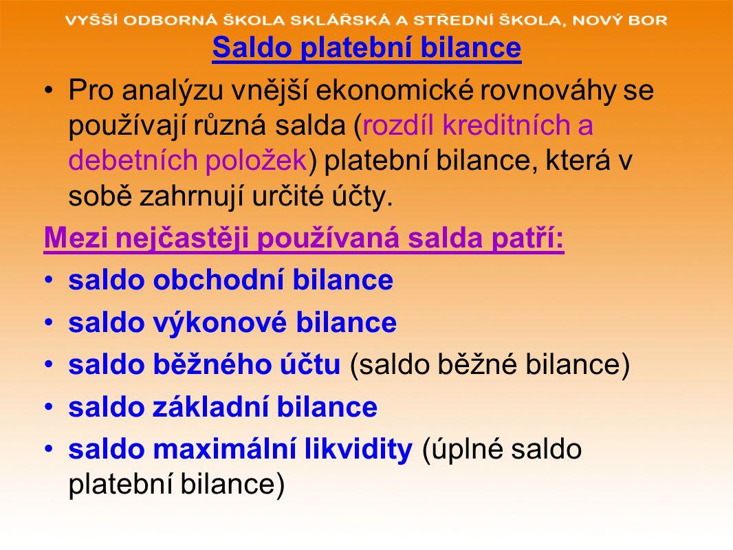 Saldo platební bilance Pro analýzu vnější ekonomické rovnováhy se používají různá salda (rozdíl kreditních a debetních položek) platební bilance, která v sobě zahrnují určité účty.