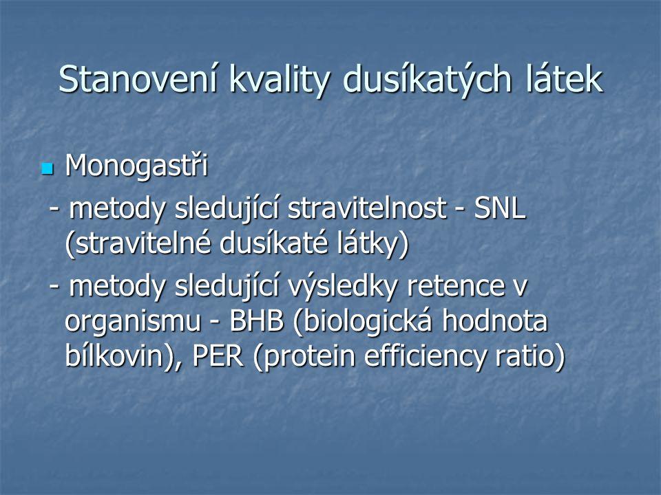 Stanovení kvality dusíkatých látek Monogastři Monogastři - metody sledující stravitelnost - SNL (stravitelné dusíkaté látky) - metody sledující stravi