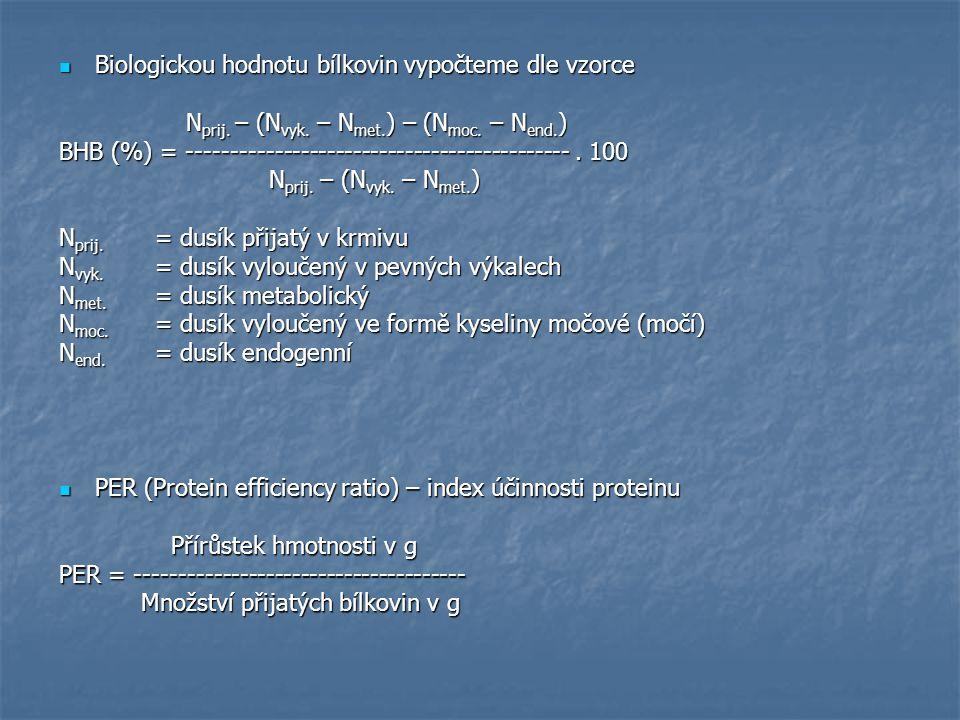 Biologickou hodnotu bílkovin vypočteme dle vzorce Biologickou hodnotu bílkovin vypočteme dle vzorce N prij. – (N vyk. – N met. ) – (N moc. – N end. )