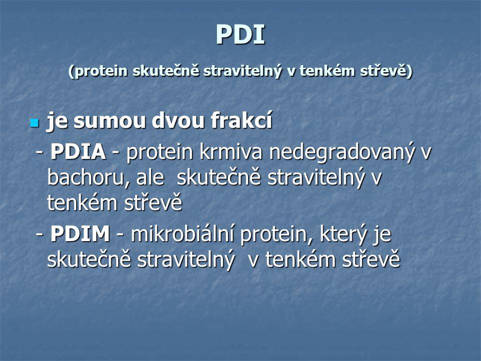 PDI (protein skutečně stravitelný v tenkém střevě) je sumou dvou frakcí je sumou dvou frakcí - PDIA - protein krmiva nedegradovaný v bachoru, ale skut