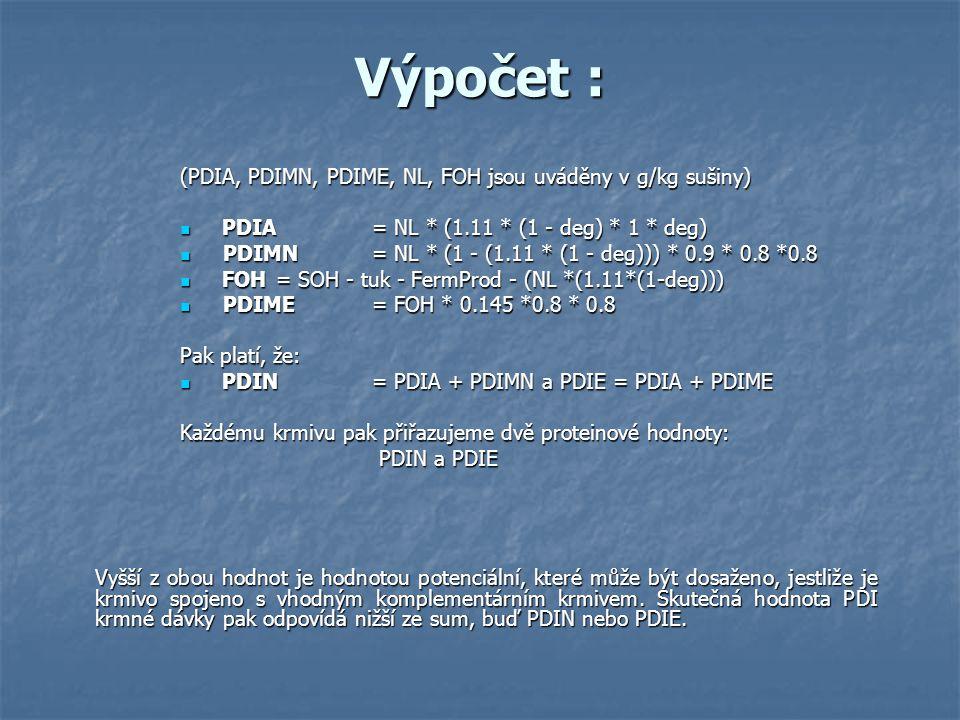 Výpočet : (PDIA, PDIMN, PDIME, NL, FOH jsou uváděny v g/kg sušiny) PDIA = NL * (1.11 * (1 - deg) * 1 * deg) PDIA = NL * (1.11 * (1 - deg) * 1 * deg) P