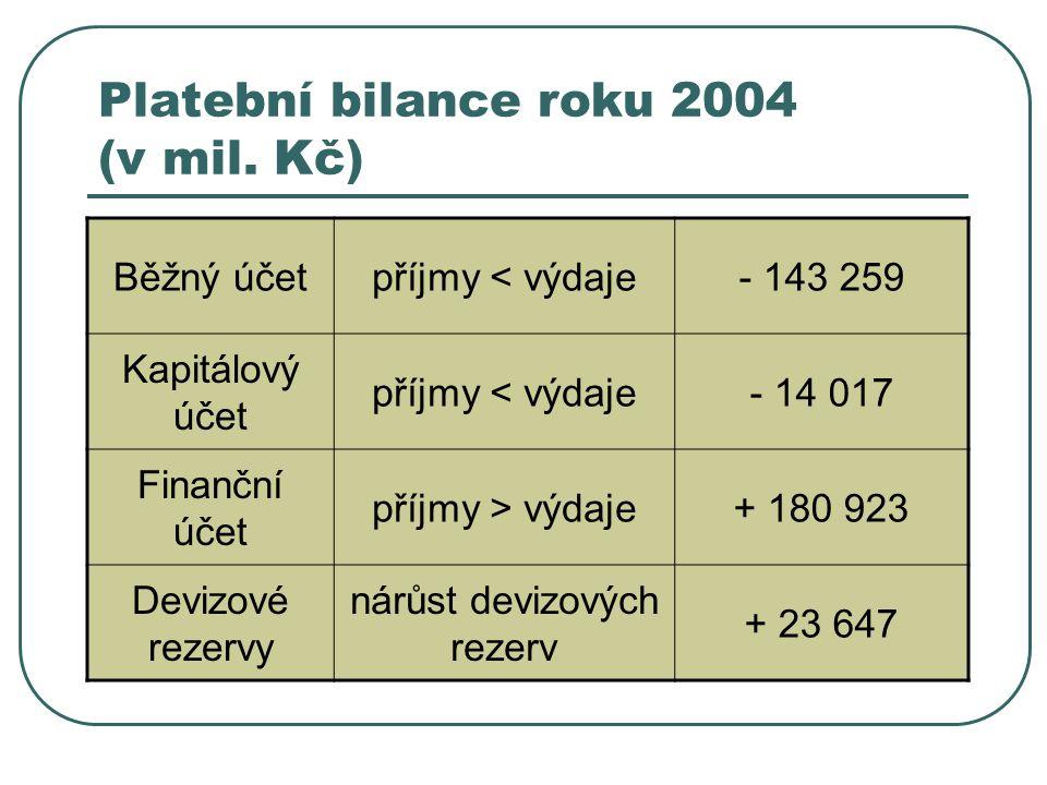 Platební bilance roku 2004 (v mil.