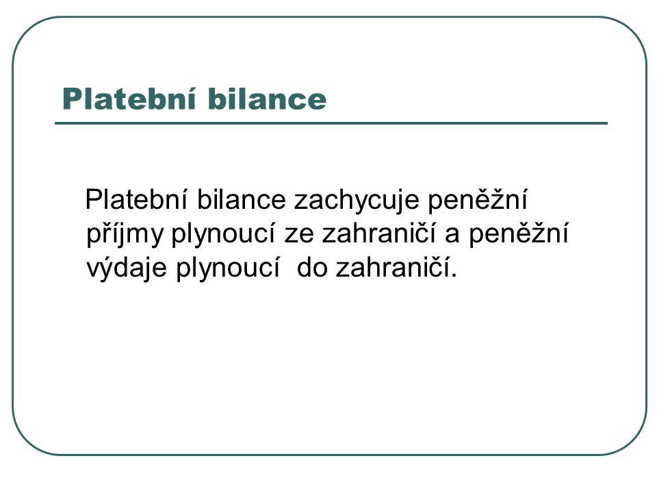 Platební bilance Platební bilance zachycuje peněžní příjmy plynoucí ze zahraničí a peněžní výdaje plynoucí do zahraničí.