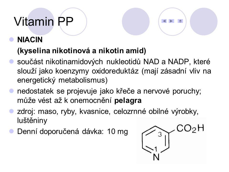 NIACIN (kyselina nikotinová a nikotin amid) součást nikotinamidových nukleotidů NAD a NADP, které slouží jako koenzymy oxidoreduktáz (mají zásadní vli
