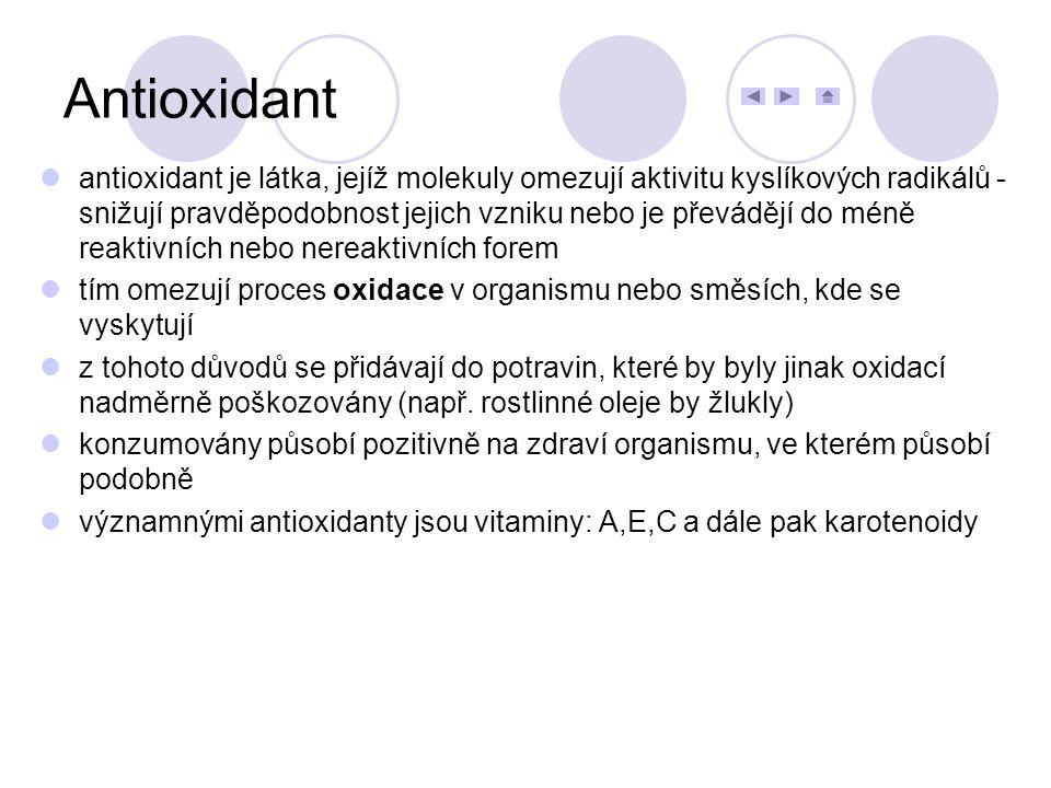 antioxidant je látka, jejíž molekuly omezují aktivitu kyslíkových radikálů - snižují pravděpodobnost jejich vzniku nebo je převádějí do méně reaktivní