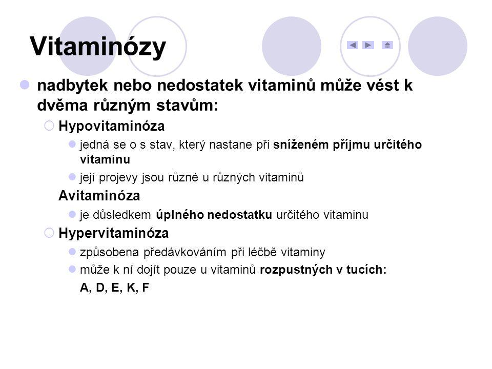 Vitaminózy nadbytek nebo nedostatek vitaminů může vést k dvěma různým stavům:  Hypovitaminóza jedná se o s stav, který nastane při sníženém příjmu ur