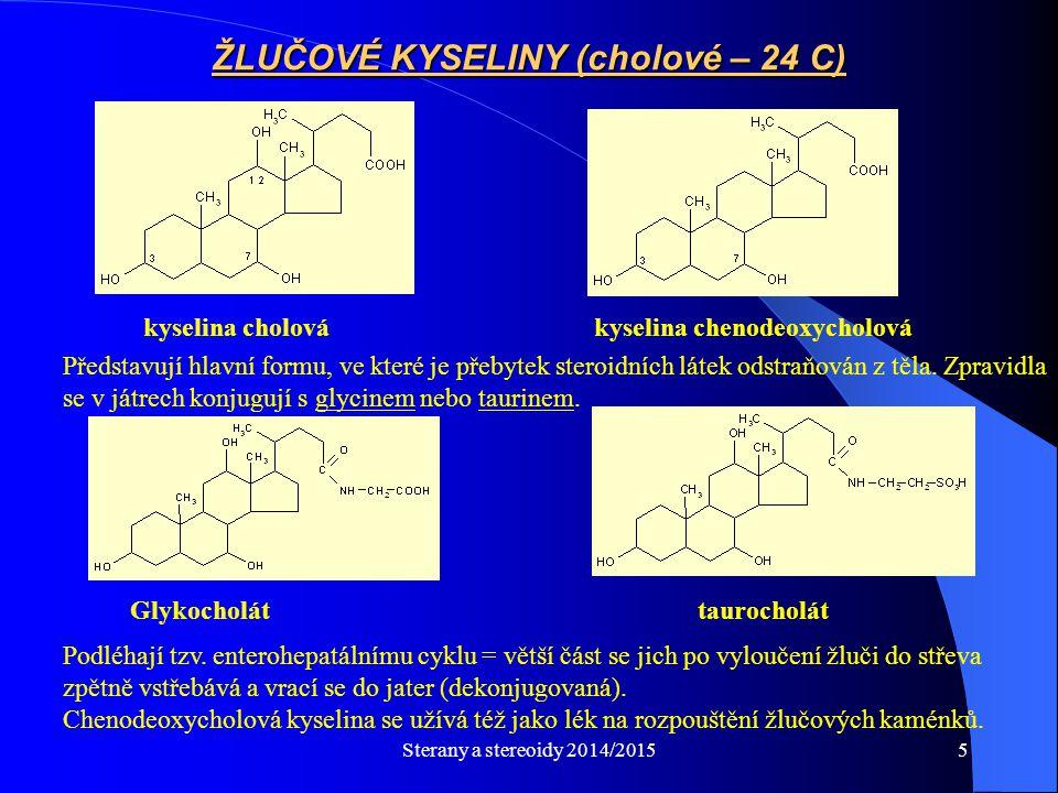Sterany a stereoidy 2014/20155 kyselina cholová kyselina chenodeoxycholová ŽLUČOVÉ KYSELINY (cholové – 24 C) Představují hlavní formu, ve které je pře