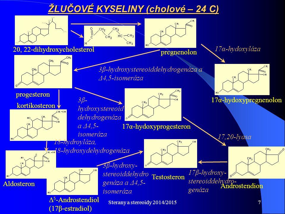 Sterany a stereoidy 2014/20157 3β- hydroxystereoid dehydrogenáza a Δ4,5- isomeráza 20, 22-dihydroxycholesterol ŽLUČOVÉ KYSELINY (cholové – 24 C) pregn