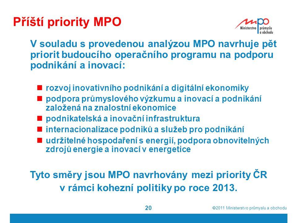  2011  Ministerstvo průmyslu a obchodu 20 Příští priority MPO V souladu s provedenou analýzou MPO navrhuje pět priorit budoucího operačního program