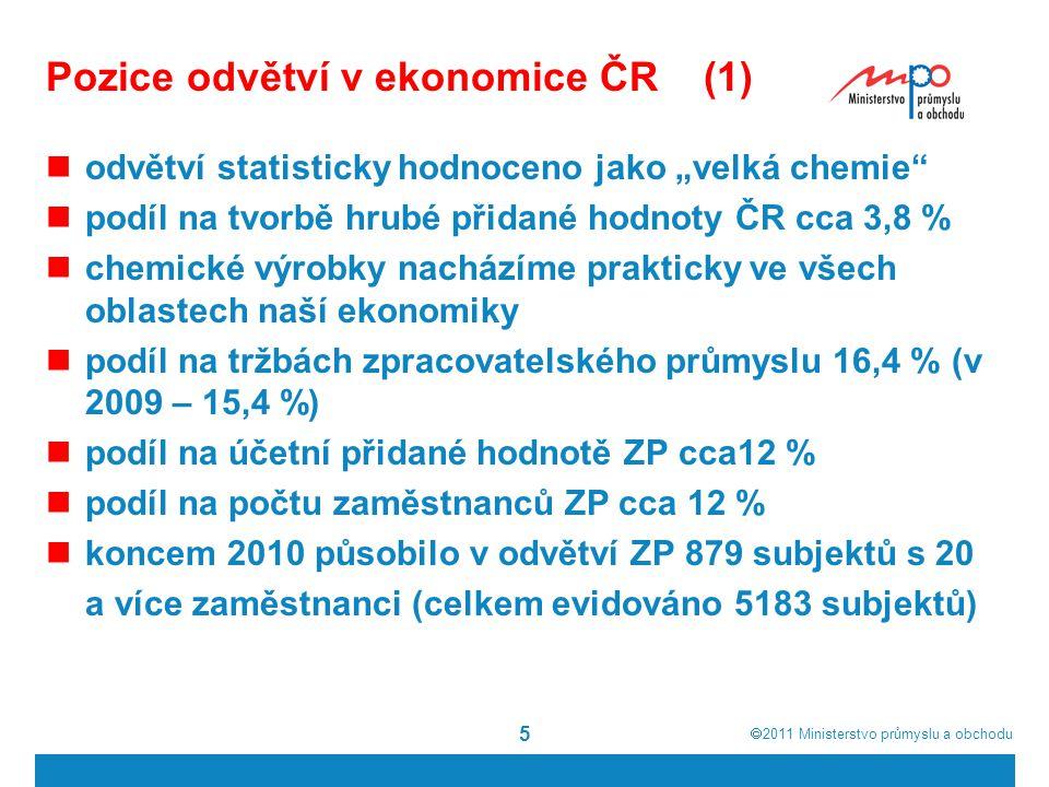 """ 2011  Ministerstvo průmyslu a obchodu 5 Pozice odvětví v ekonomice ČR (1) odvětví statisticky hodnoceno jako """"velká chemie"""" podíl na tvorbě hrubé"""