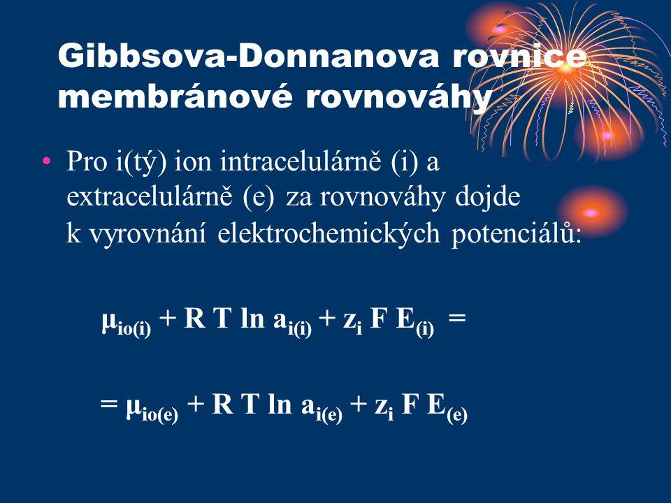 Gibbsova-Donnanova rovnice membránové rovnováhy Pro i(tý) ion intracelulárně (i) a extracelulárně (e) za rovnováhy dojde k vyrovnání elektrochemických