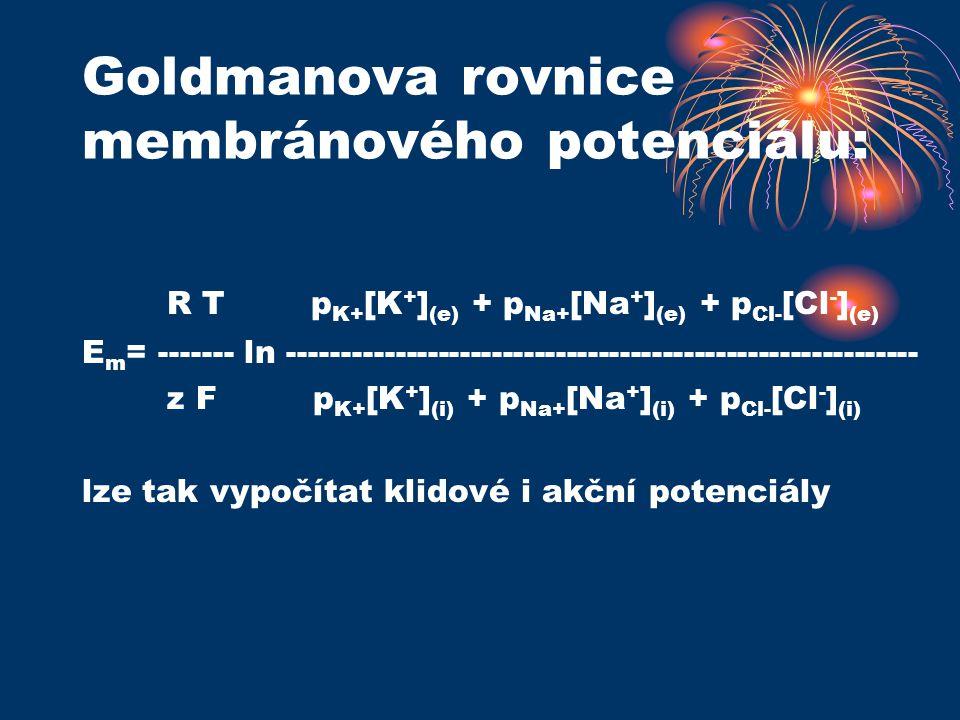 Goldmanova rovnice membránového potenciálu: R T p K+ [K + ] (e) + p Na+ [Na + ] (e) + p Cl- [Cl - ] (e) E m = ------- ln -----------------------------