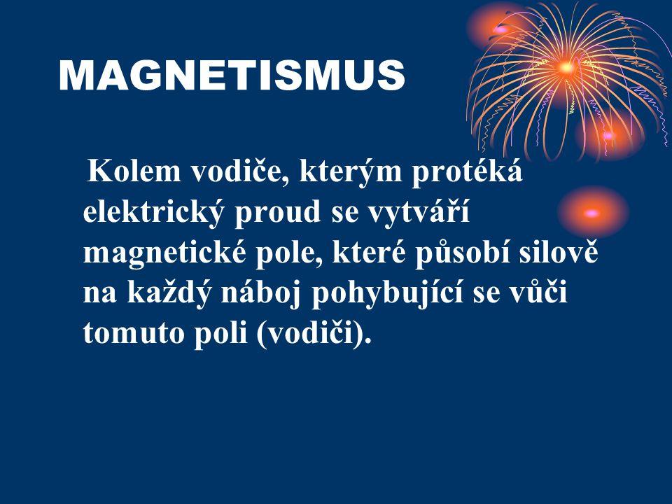 MAGNETISMUS Kolem vodiče, kterým protéká elektrický proud se vytváří magnetické pole, které působí silově na každý náboj pohybující se vůči tomuto pol
