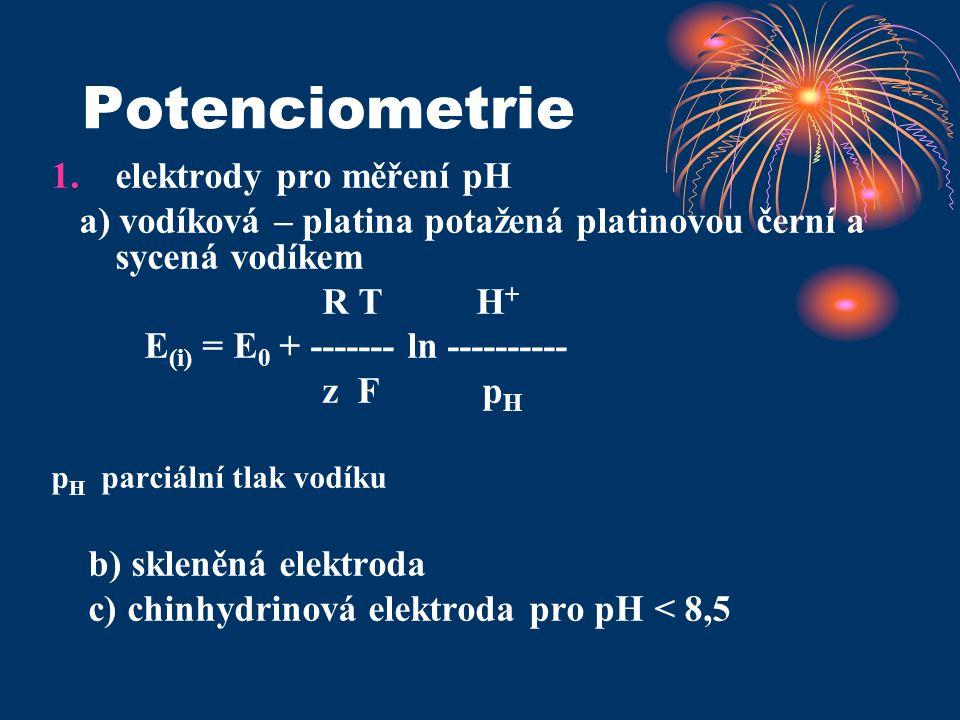 Potenciometrie 1.elektrody pro měření pH a) vodíková – platina potažená platinovou černí a sycená vodíkem R T H + E (i) = E 0 + ------- ln ----------