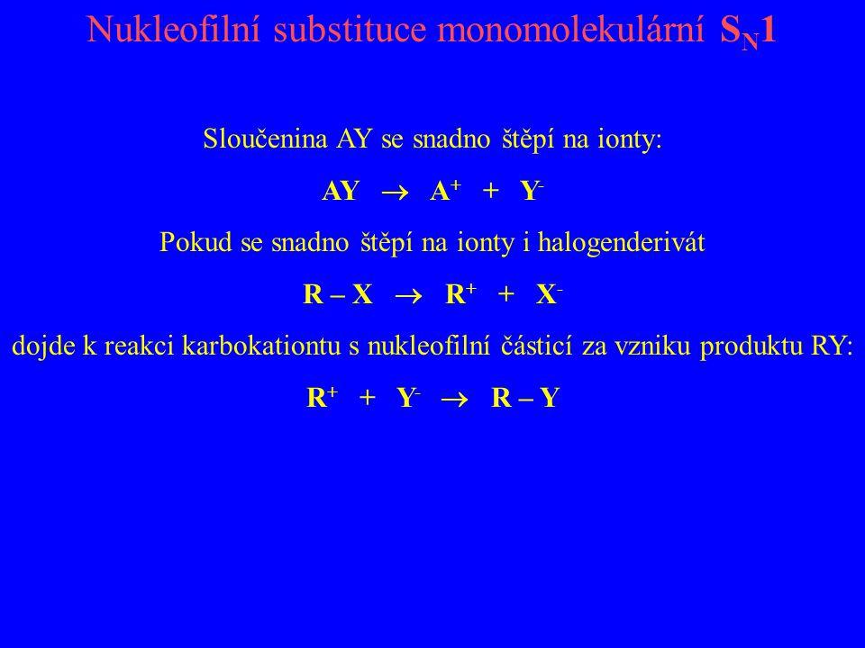 Nukleofilní substituce monomolekulární S N 1 Sloučenina AY se snadno štěpí na ionty: AY  A + + Y - Pokud se snadno štěpí na ionty i halogenderivát R