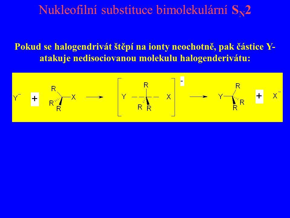 Nukleofilní substituce bimolekulární S N 2 Pokud se halogendrivát štěpí na ionty neochotně, pak částice Y- atakuje nedisociovanou molekulu halogenderi