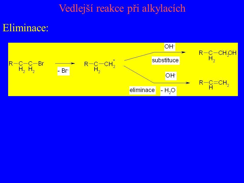 Vedlejší reakce při alkylacích Eliminace: