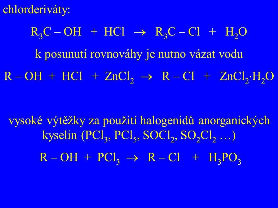 chlorderiváty: R 3 C – OH + HCl  R 3 C – Cl + H 2 O k posunutí rovnováhy je nutno vázat vodu R – OH + HCl + ZnCl 2  R – Cl + ZnCl 2  H 2 O vysoké v