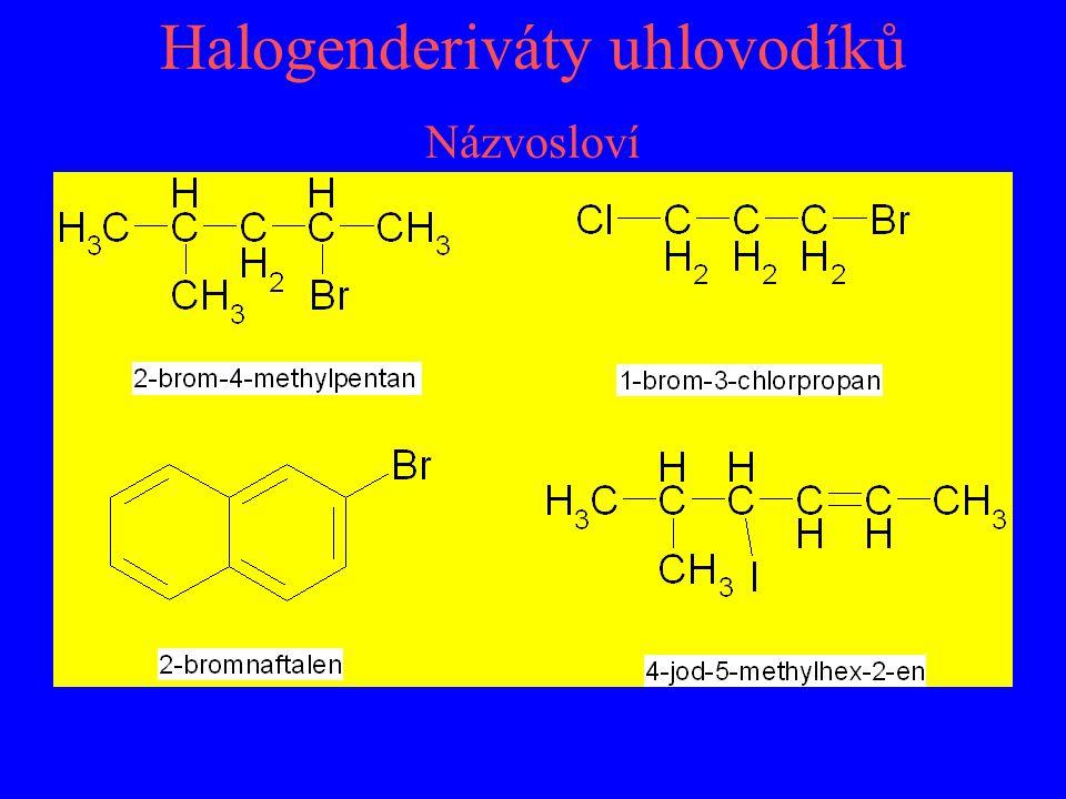 Halogenderiváty uhlovodíků Názvosloví
