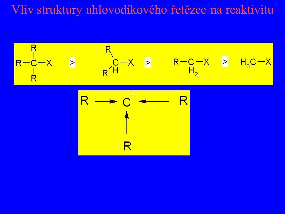 Vliv struktury uhlovodíkového řetězce na reaktivitu