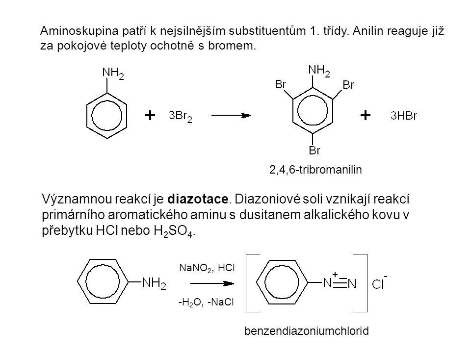 Aminoskupina patří k nejsilnějším substituentům 1. třídy. Anilin reaguje již za pokojové teploty ochotně s bromem. Významnou reakcí je diazotace. Diaz