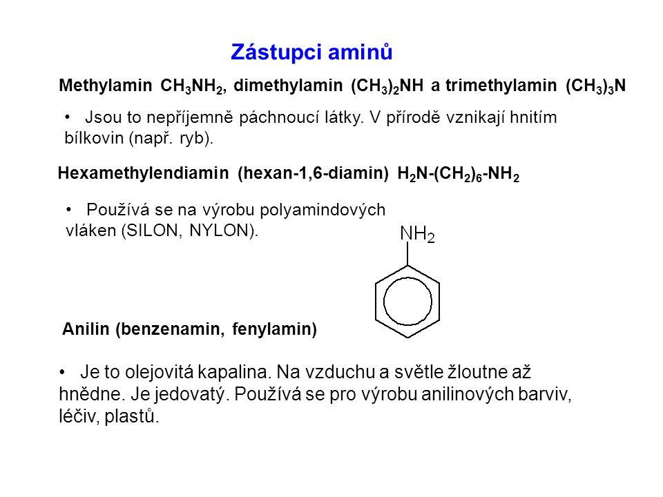 Zástupci aminů Methylamin CH 3 NH 2, dimethylamin (CH 3 ) 2 NH a trimethylamin (CH 3 ) 3 N Hexamethylendiamin (hexan-1,6-diamin) H 2 N-(CH 2 ) 6 -NH 2