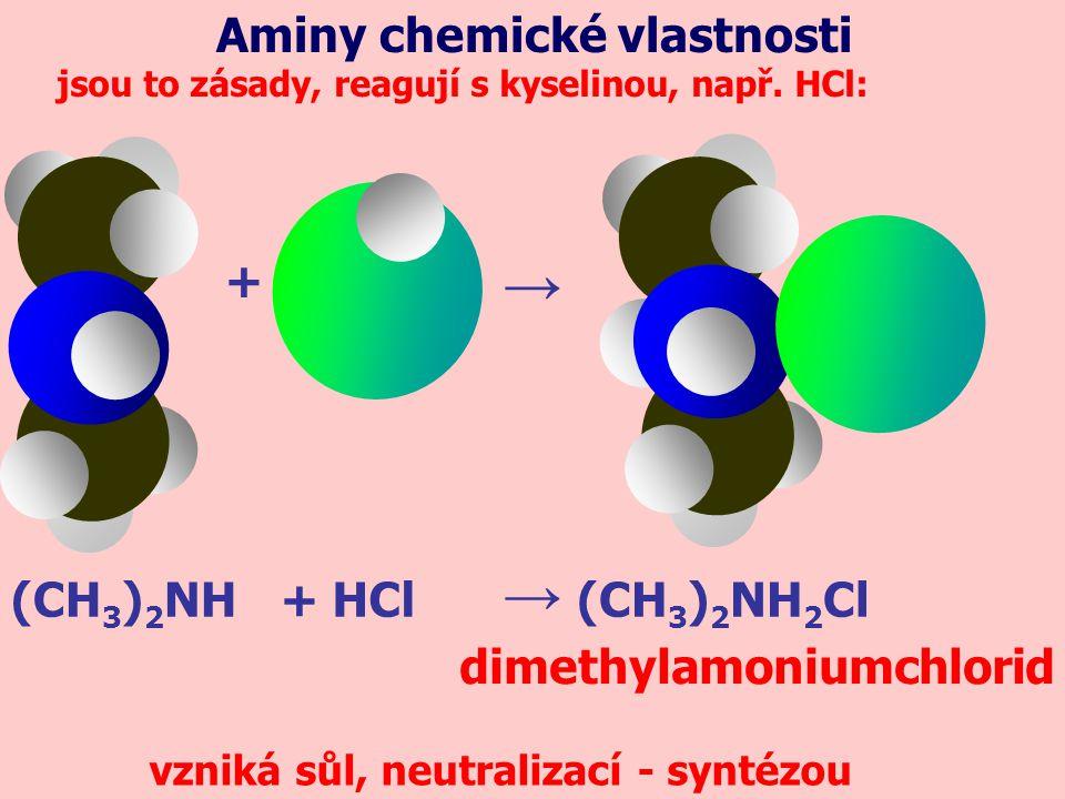 (CH 3 ) 2 NH jsou to zásady, reagují s kyselinou, např.