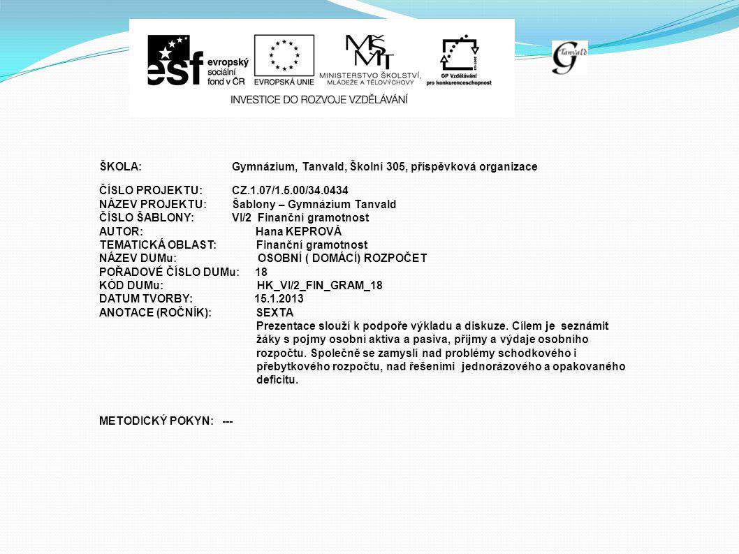ŠKOLA:Gymnázium, Tanvald, Školní 305, příspěvková organizace ČÍSLO PROJEKTU:CZ.1.07/1.5.00/34.0434 NÁZEV PROJEKTU:Šablony – Gymnázium Tanvald ČÍSLO ŠABLONY:VI/2 Finanční gramotnost AUTOR: Hana KEPROVÁ TEMATICKÁ OBLAST: Finanční gramotnost NÁZEV DUMu: OSOBNÍ ( DOMÁCÍ) ROZPOČET POŘADOVÉ ČÍSLO DUMu: 18 KÓD DUMu: HK_VI/2_FIN_GRAM_18 DATUM TVORBY: 15.1.2013 ANOTACE (ROČNÍK): SEXTA Prezentace slouží k podpoře výkladu a diskuze.