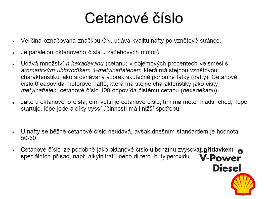 Cetanové číslo Veličina označována značkou CN, udává kvalitu nafty po vznětové stránce.