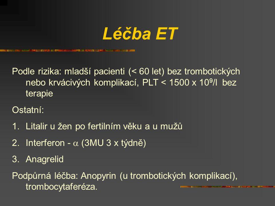 Léčba ET Podle rizika: mladší pacienti (< 60 let) bez trombotických nebo krvácivých komplikací, PLT < 1500 x 10 9 /l bez terapie Ostatní: 1.Litalir u žen po fertilním věku a u mužů 2.Interferon -  (3MU 3 x týdně) 3.Anagrelid Podpůrná léčba: Anopyrin (u trombotických komplikací), trombocytaferéza.