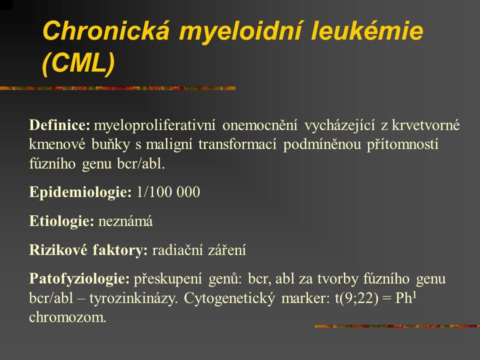 Chronická myeloidní leukémie (CML) Definice: myeloproliferativní onemocnění vycházející z krvetvorné kmenové buňky s maligní transformací podmíněnou přítomností fúzního genu bcr/abl.