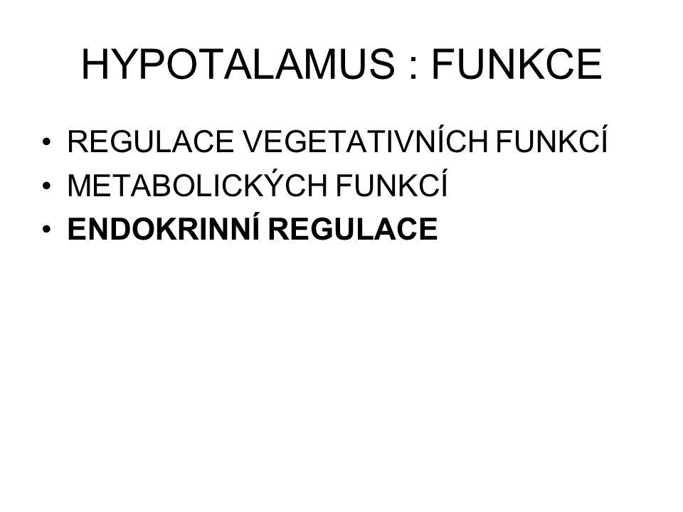 HYPOTALAMUS : FUNKCE REGULACE VEGETATIVNÍCH FUNKCÍ METABOLICKÝCH FUNKCÍ ENDOKRINNÍ REGULACE