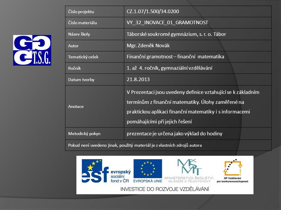 Číslo projektu CZ.1.07/1.500/34.0200 Číslo materiálu VY_32_INOVACE_01_GRAMOTNOST Název školy Táborské soukromé gymnázium, s.