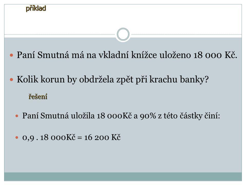 příklad Paní Smutná má na vkladní knížce uloženo 18 000 Kč.
