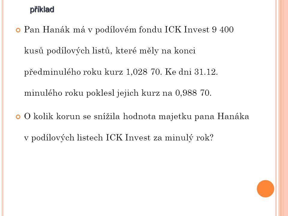 příklad Pan Hanák má v podílovém fondu ICK Invest 9 400 kusů podílových listů, které měly na konci předminulého roku kurz 1,028 70.