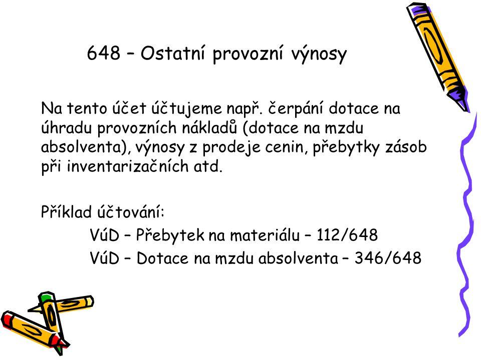648 – Ostatní provozní výnosy Na tento účet účtujeme např.