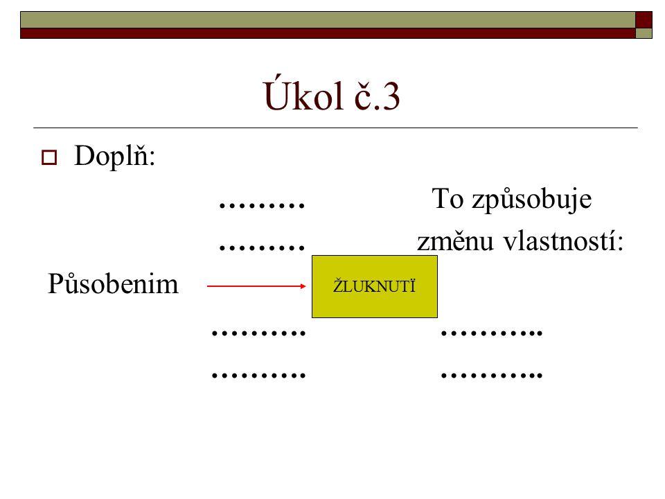 Úkol č.3  Doplň: ……… To způsobuje ……… změnu vlastností: Působenim ………. ……….. ŽLUKNUTÏ