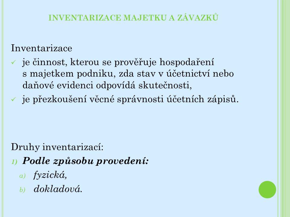 INVENTARIZACE MAJETKU A ZÁVAZKŮ Inventarizace je činnost, kterou se prověřuje hospodaření s majetkem podniku, zda stav v účetnictví nebo daňové evidenci odpovídá skutečnosti, je přezkoušení věcné správnosti účetních zápisů.
