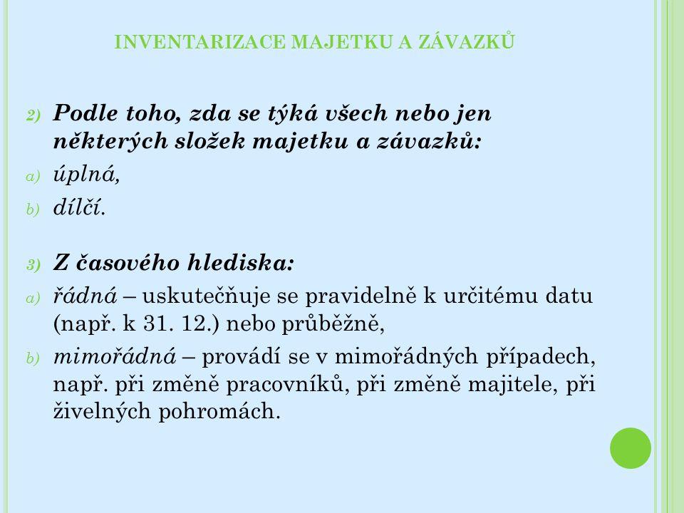 2) Podle toho, zda se týká všech nebo jen některých složek majetku a závazků: a) úplná, b) dílčí.